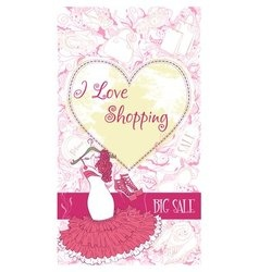 Decorative design card with evening dress and vector image vector image