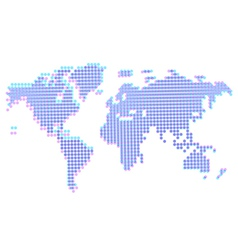 Dotted abstract worldmap with offset vector image