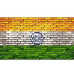 Grunge flag of india on a brick wall vector