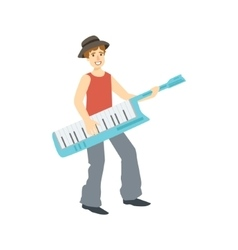 Guy playing musical keyboard creative person vector
