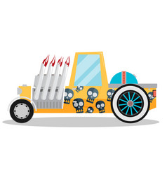 hotrod with flame flat vector image