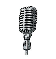 microphone vintage black engraving vector image vector image