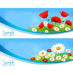 Nature banner with flowers vector