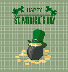 patrick s day a pot of gold coins the green hat vector image vector image