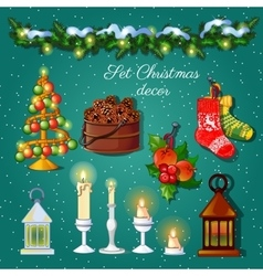 Postcard Christmas snow decoration set vector image vector image