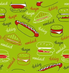 Sandwiches on a green background vector
