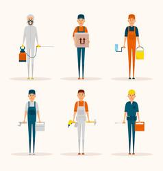 Service workers cartoon characters set vector