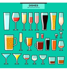 Set of different isolated glasses with a stroke vector image