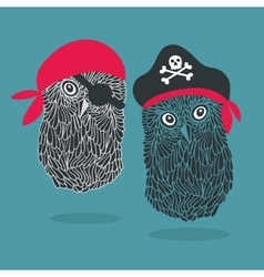 Set of two owl pirates vector