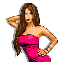 Sexy woman in pink dress on a background eps vector
