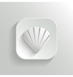 Shell icon - white app button vector image