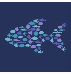 Simple plain style big fish mosaic vector image vector image