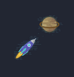 Spacecraft flying to the planet saturn vector