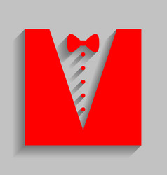 tuxedo with bow silhouette red icon with vector image vector image