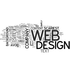 Web designs scariest mistakes text word cloud vector