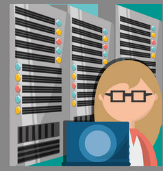 Woman working in data center information vector