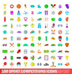 100 sport competition icons set cartoon style vector
