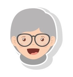 Front face elderly woman smiling with glasses vector