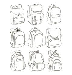 School backpacks set vector image