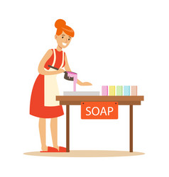 Happy young woman making homemade soap craft vector