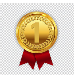 Champion art golden medal with red ribbon l icon vector