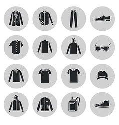 Mens clothing icons and accessories vector
