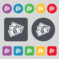 Us dollar icon sign a set of 12 colored buttons vector