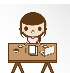 The girl in her home office vector