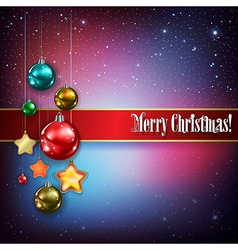 Celebration greeting with christmas decorations vector