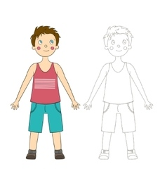 Educational game draw the human boy vector