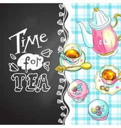 Tea and sweets top view vector