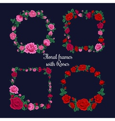 Frames and tags with roses vector
