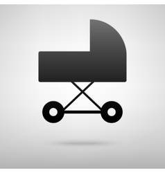 Pram black icon vector