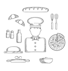 Baker profession and ingredients sketches vector