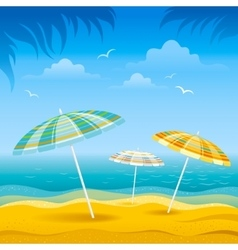 Beach background with blue sea and stripped beach vector