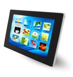 Tablet pc with icons vector