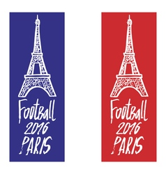 Hand drawn concept logo with eiffel tower for the vector