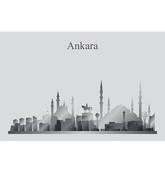 Ankara city skyline silhouette in grayscale vector image