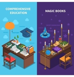 Books and education banners set vector