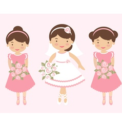 Bride with bridesmaids vector image vector image