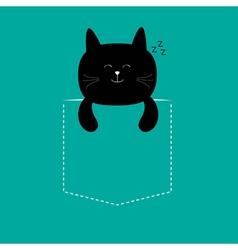 Cat sleeping in the pocket Cute cartoon character vector image