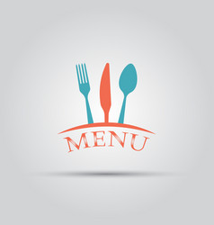 Cutlery isolated colored menu logo template vector
