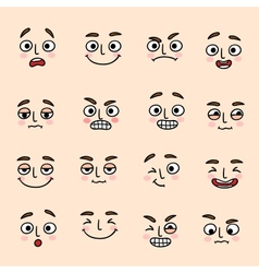 Facial mood expression icons set vector image vector image