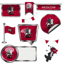 glossy icons with flag of moscow vector image