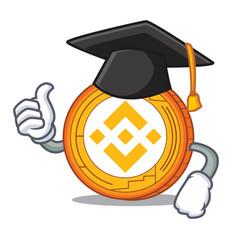 Graduation binance coin character catoon vector
