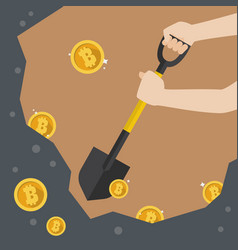 Hand hold shovel digging for bitcoin vector