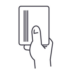 hand holding papercard line icon sign vector image