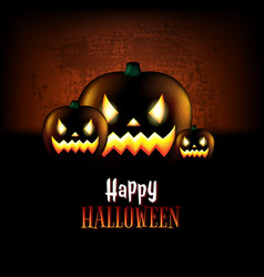 happy halloween poster with pumpkins vector image vector image