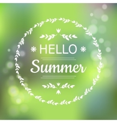 Hello Summer green card design with a textured vector image vector image