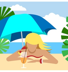 Hot girl on a beach under umbrella with cocktail vector